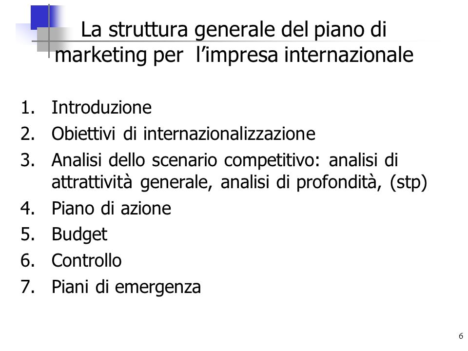 La struttura generale del piano di marketing per l'impresa internazionale