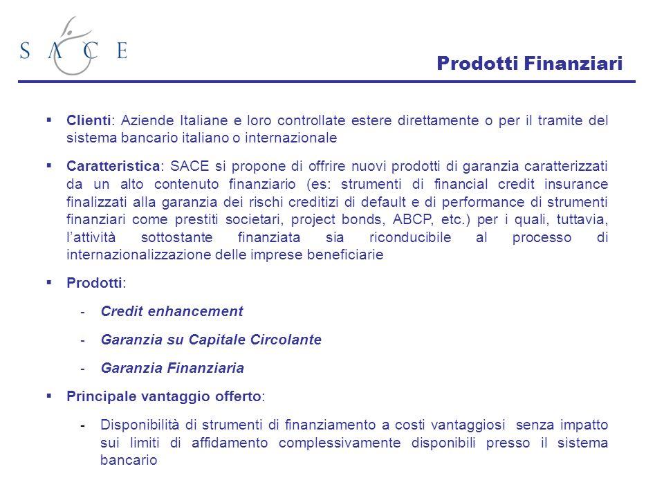 Prodotti Finanziari Clienti: Aziende Italiane e loro controllate estere direttamente o per il tramite del sistema bancario italiano o internazionale.