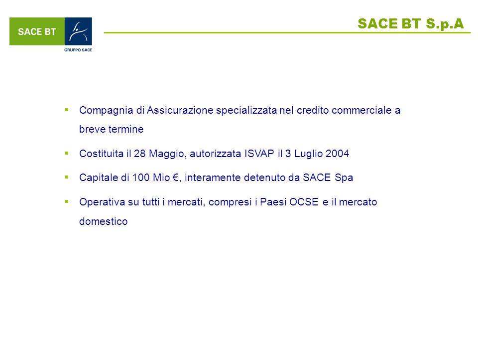 SACE BT S.p.A Compagnia di Assicurazione specializzata nel credito commerciale a breve termine.