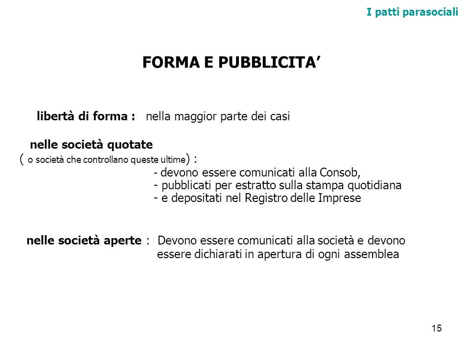 FORMA E PUBBLICITA' libertà di forma : nella maggior parte dei casi