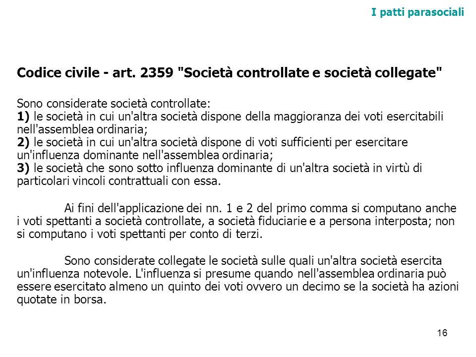 Codice civile - art. 2359 Società controllate e società collegate