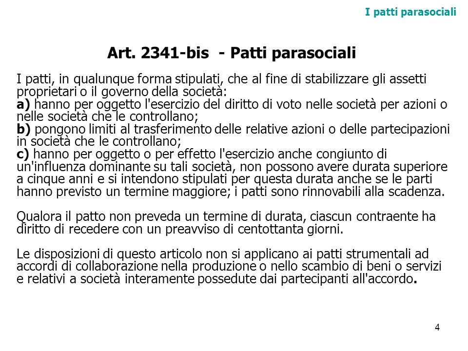 Art. 2341-bis - Patti parasociali