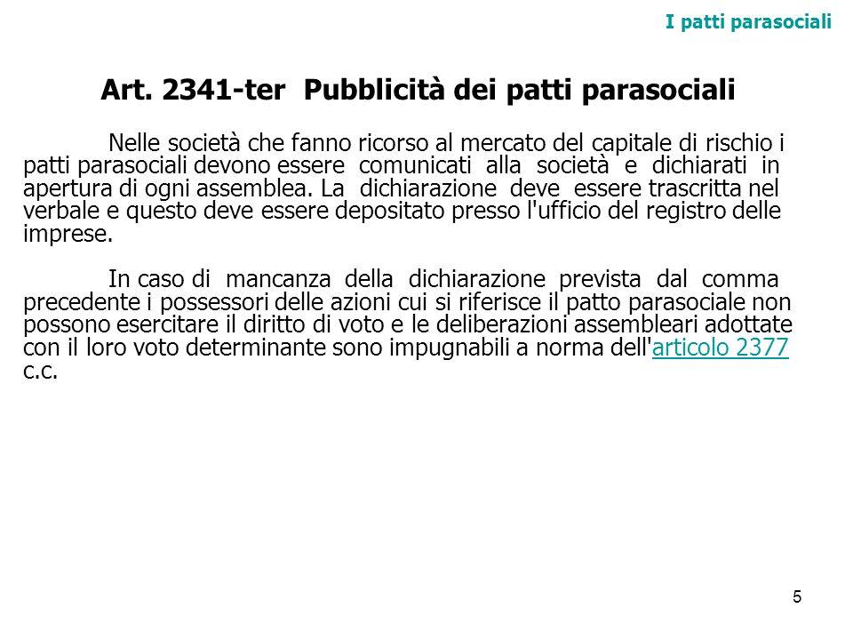 Art. 2341-ter Pubblicità dei patti parasociali