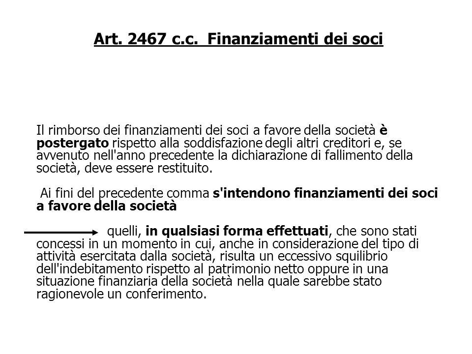 Art. 2467 c.c. Finanziamenti dei soci