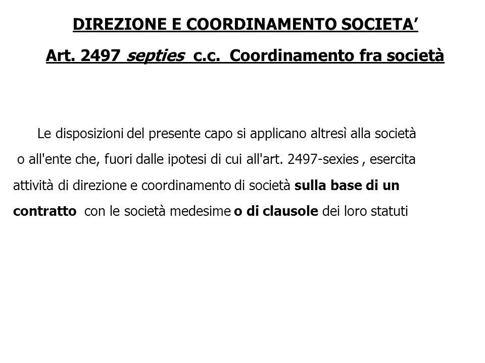 DIREZIONE E COORDINAMENTO SOCIETA'