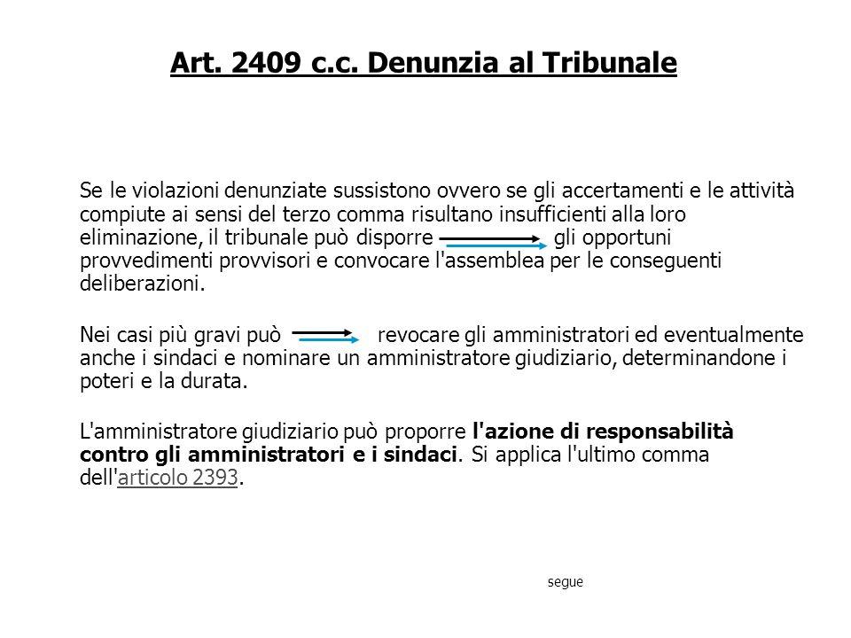 Art. 2409 c.c. Denunzia al Tribunale