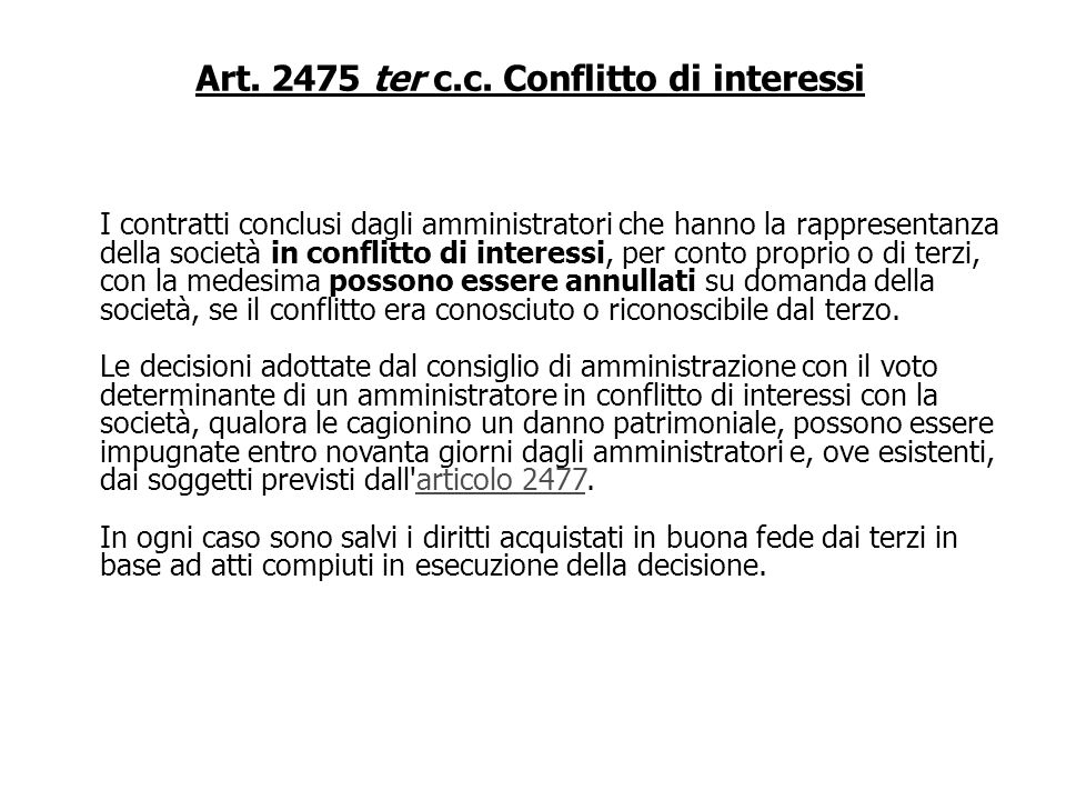 Art. 2475 ter c.c. Conflitto di interessi