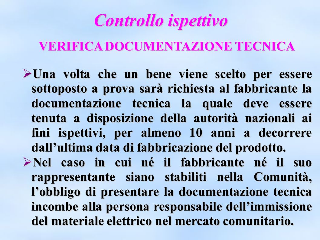 VERIFICA DOCUMENTAZIONE TECNICA