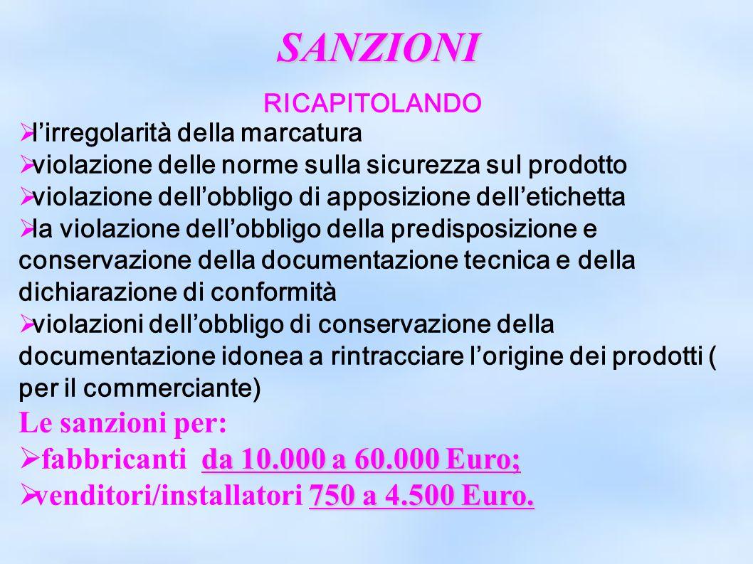 SANZIONI Le sanzioni per: fabbricanti da 10.000 a 60.000 Euro;
