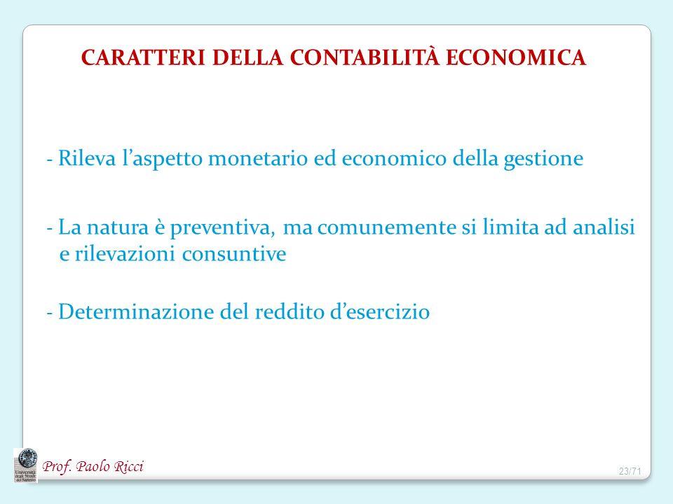 CARATTERI DELLA CONTABILITÀ ECONOMICA