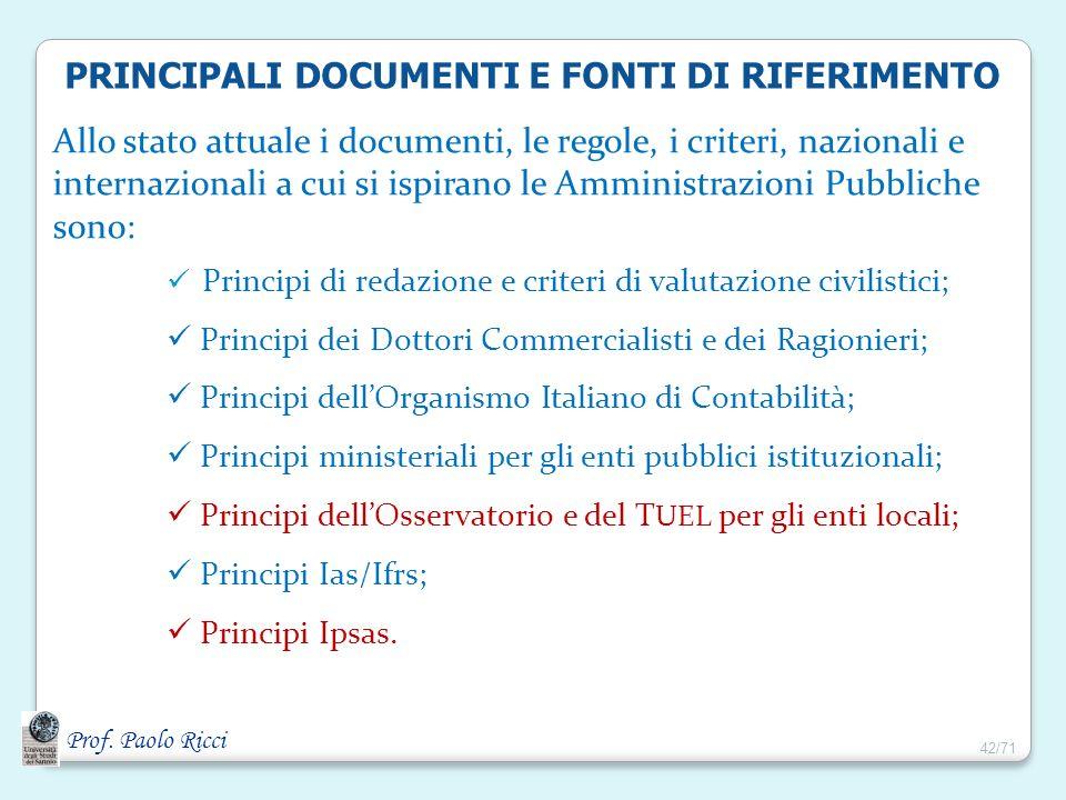 PRINCIPALI DOCUMENTI E FONTI DI RIFERIMENTO