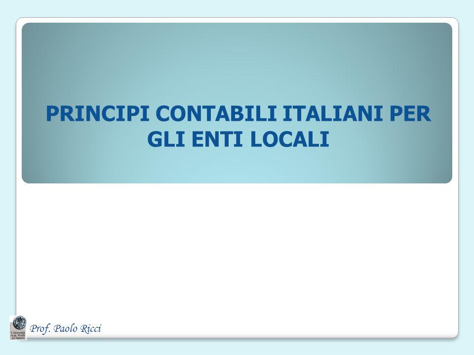 PRINCIPI CONTABILI ITALIANI PER GLI ENTI LOCALI