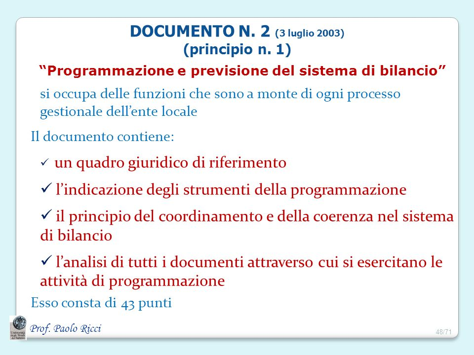 Programmazione e previsione del sistema di bilancio