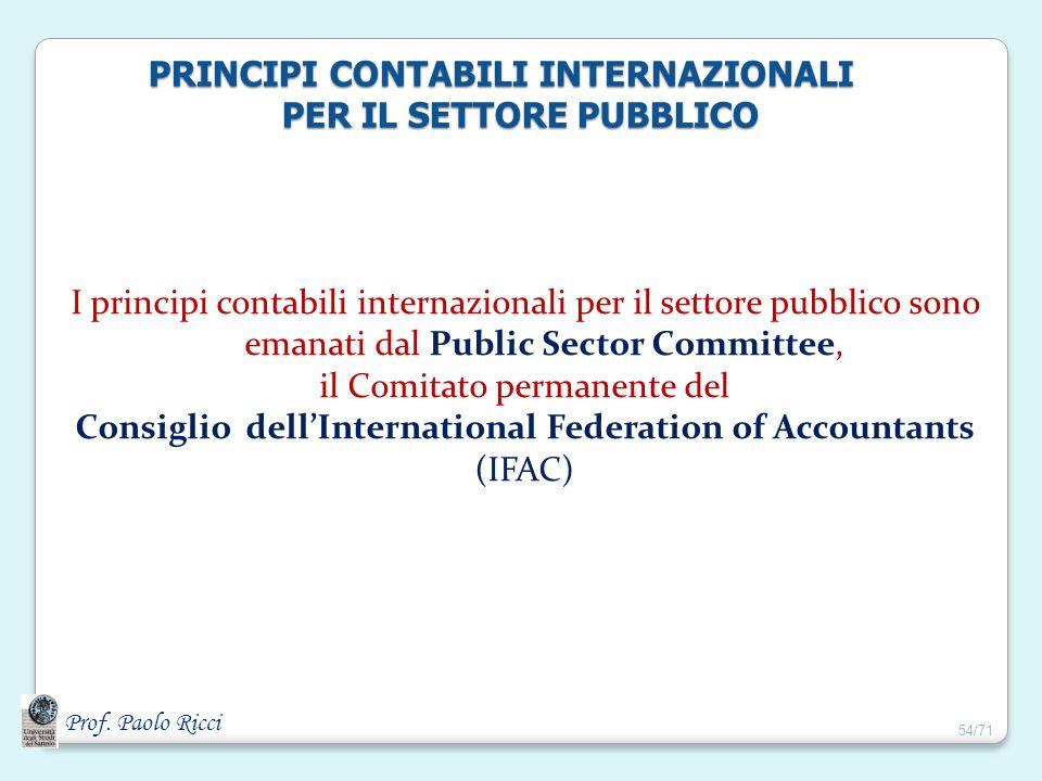 PRINCIPI CONTABILI INTERNAZIONALI PER IL SETTORE PUBBLICO