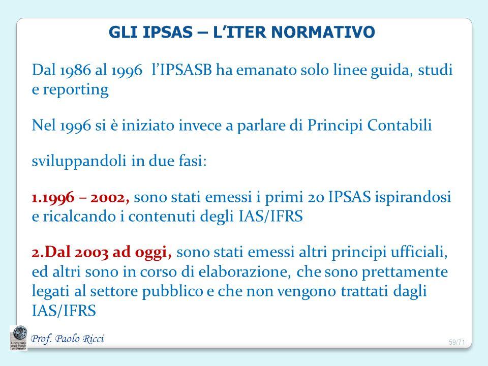 GLI IPSAS – L'ITER NORMATIVO