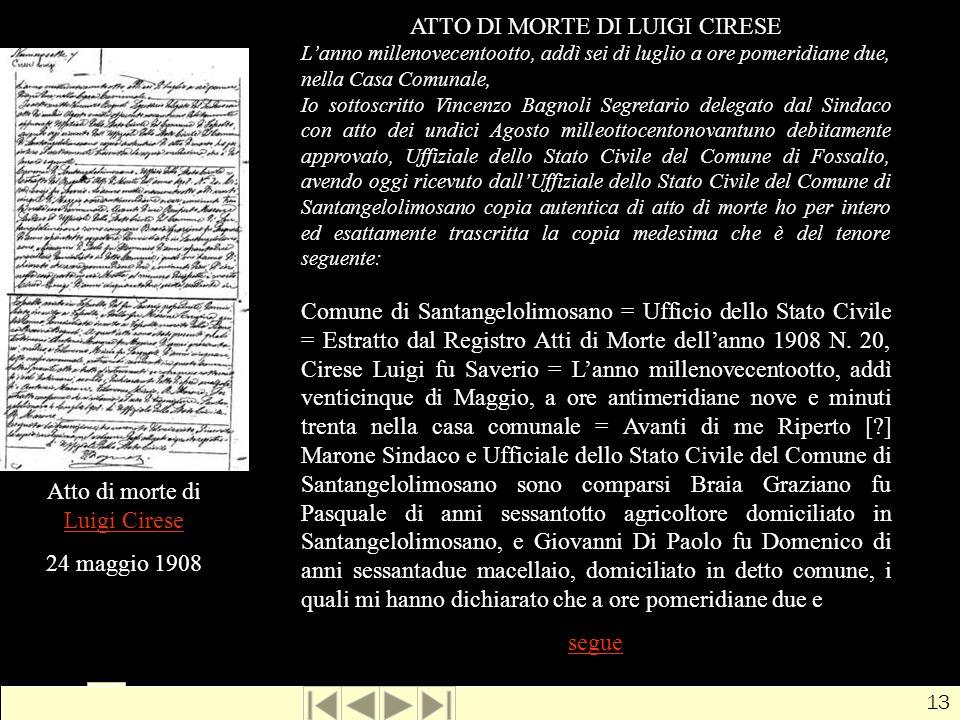Luigi Cirese, morte1 ATTO DI MORTE DI LUIGI CIRESE