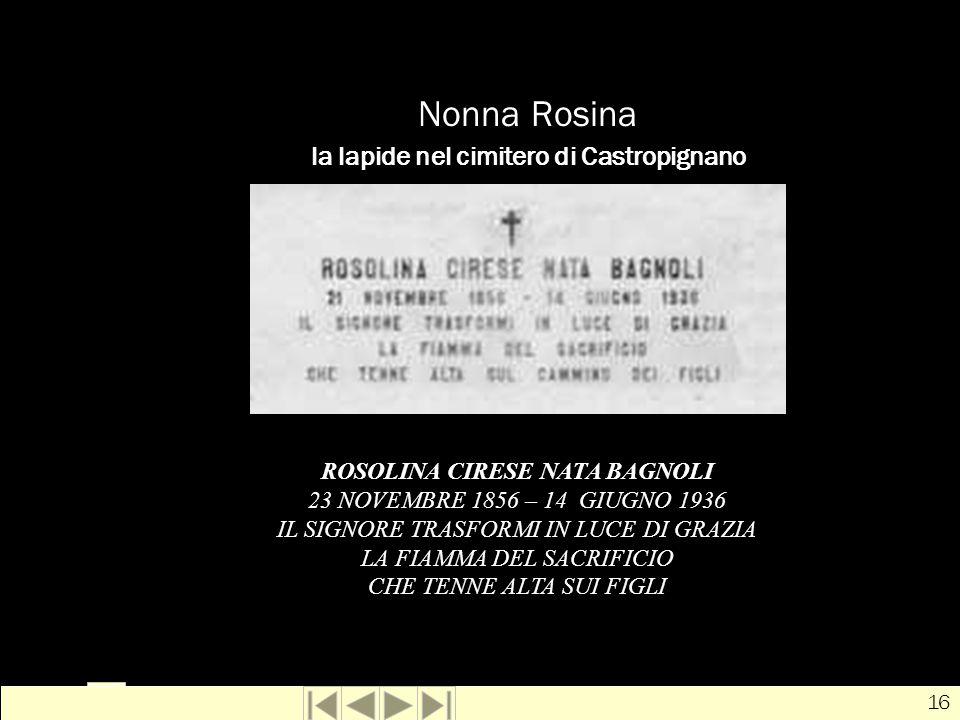 Nonna Rosina la lapide nel cimitero di Castropignano
