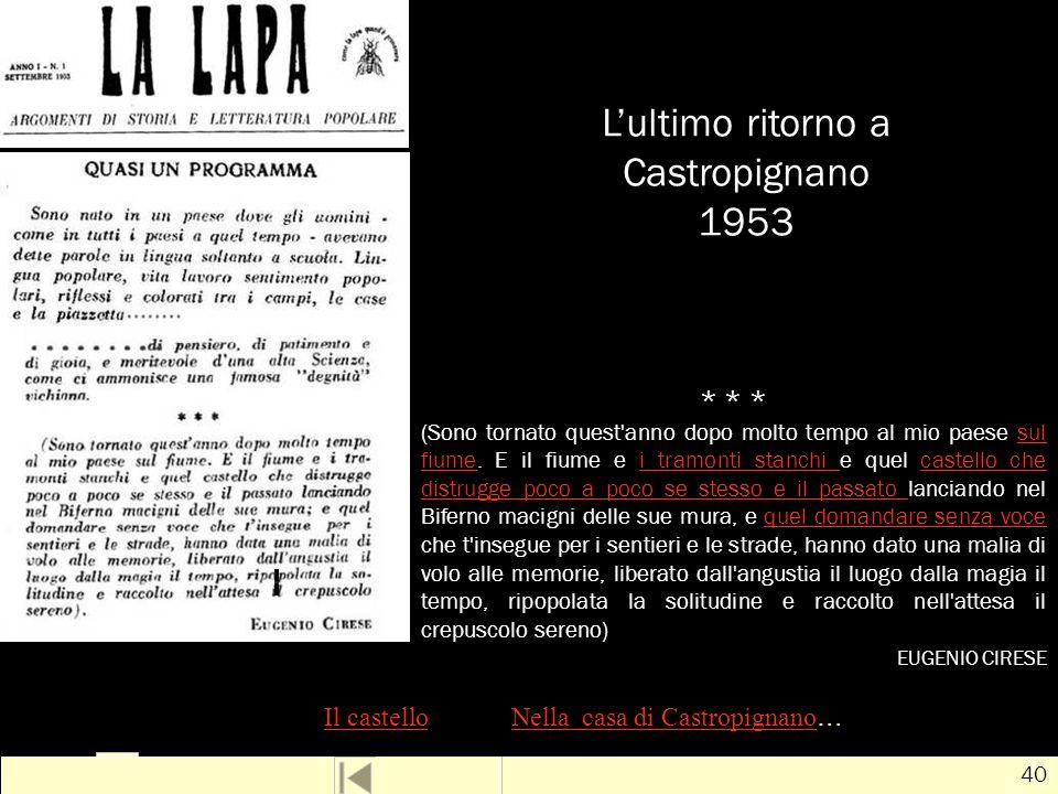 L'ultimo ritorno a Castropignano 1953