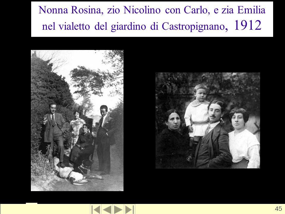 Nonna Rosina, zio Nicolino con Carlo, e zia Emilia nel vialetto del giardino di Castropignano, 1912