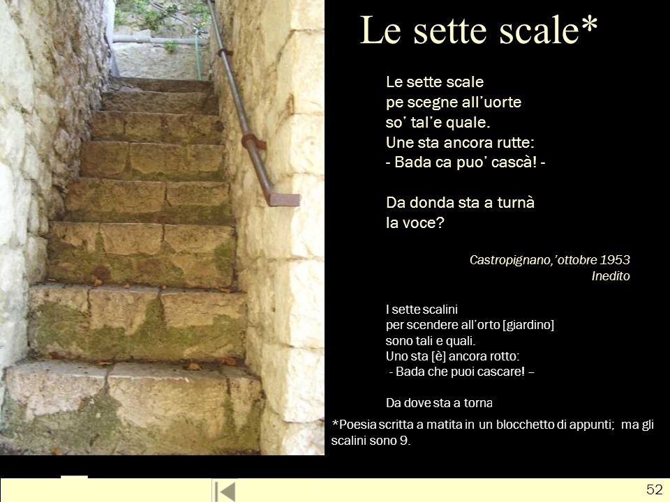 Le sette scale* Le sette scale pe scegne all'uorte so' tal'e quale.