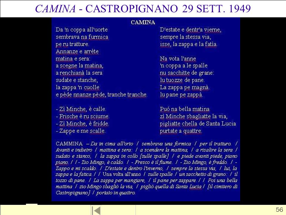 CAMINA - CASTROPIGNANO 29 SETT. 1949
