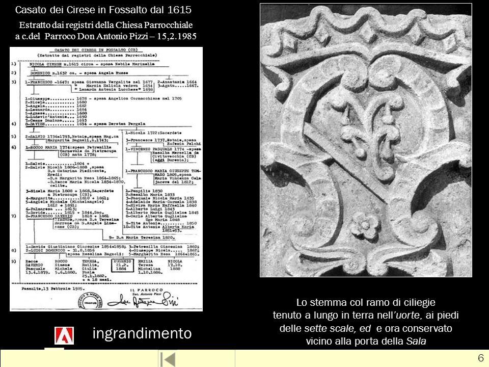 Casato dei Cirese in Fossalto dal 1615