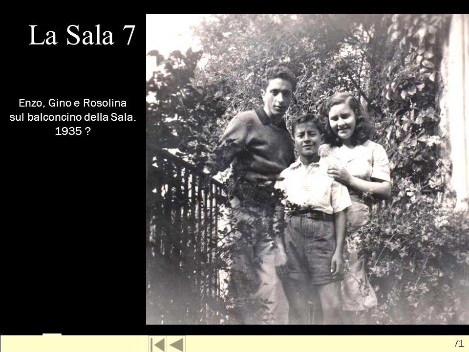 Enzo, Gino e Rosolina sul balconcino della Sala. 1935