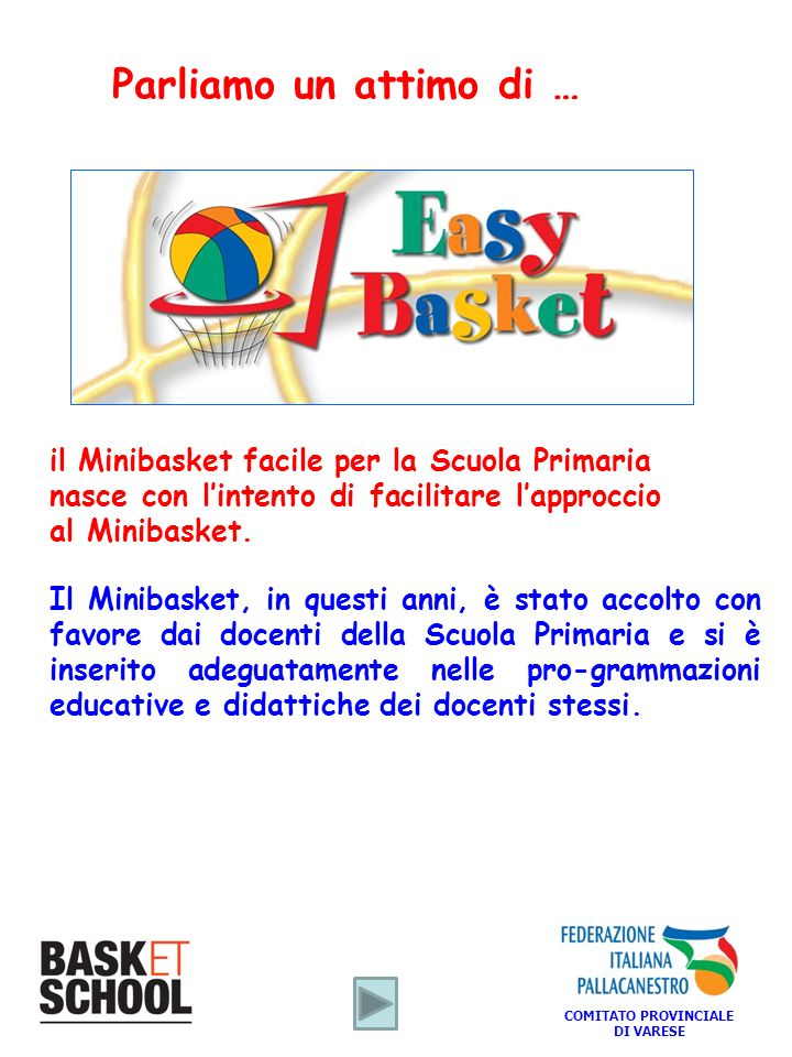 Parliamo un attimo di … il Minibasket facile per la Scuola Primaria