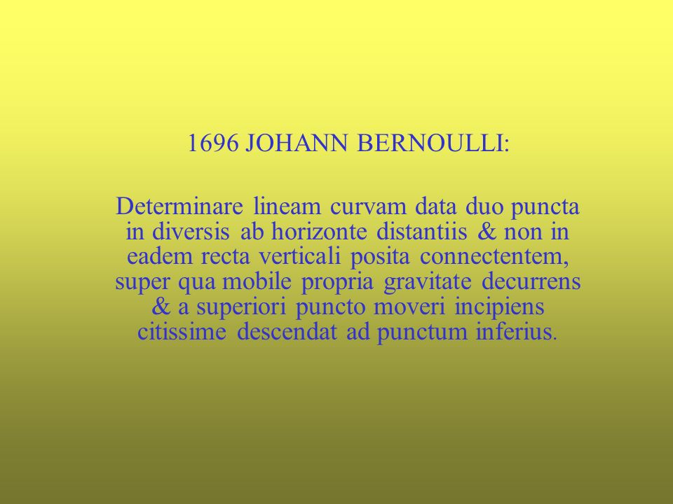 1696 JOHANN BERNOULLI:
