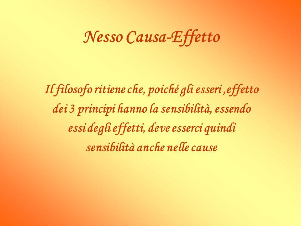 Nesso Causa-Effetto Il filosofo ritiene che, poiché gli esseri ,effetto. dei 3 principi hanno la sensibilità, essendo.
