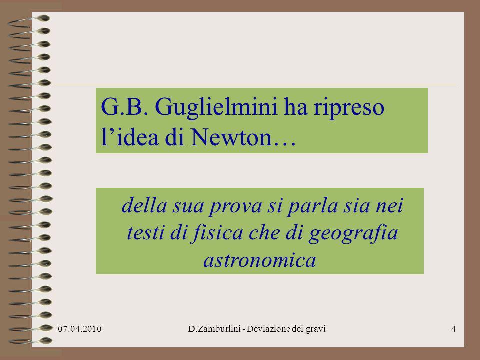 G.B. Guglielmini ha ripreso l'idea di Newton…