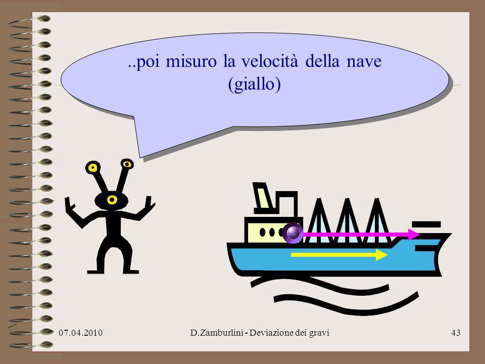 ..poi misuro la velocità della nave (giallo)