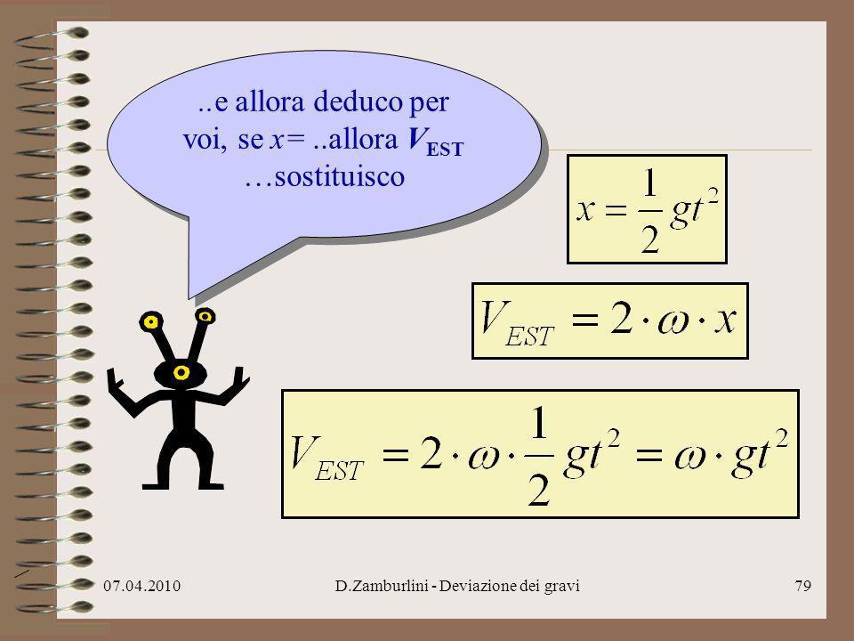 ..e allora deduco per voi, se x= ..allora VEST …sostituisco