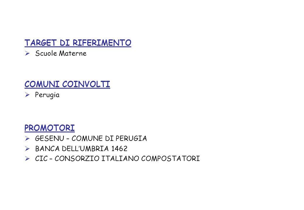 TARGET DI RIFERIMENTO COMUNI COINVOLTI PROMOTORI Scuole Materne