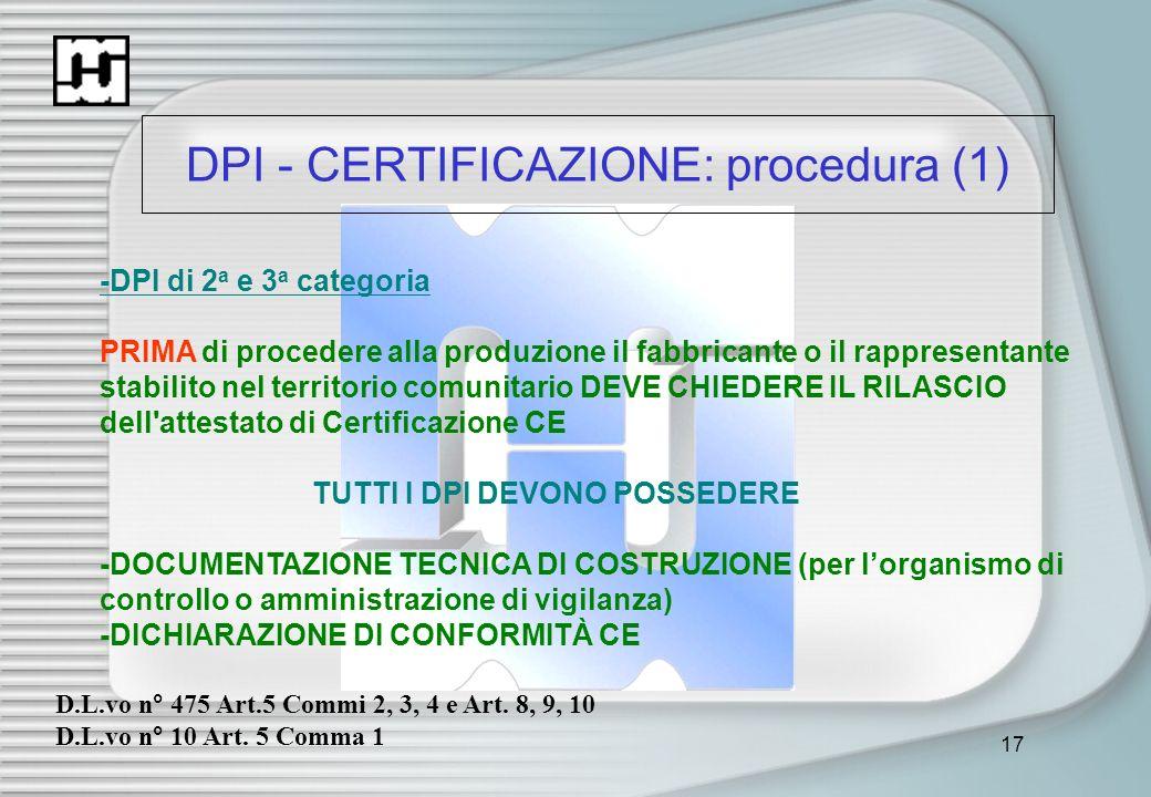DPI - CERTIFICAZIONE: procedura (1)