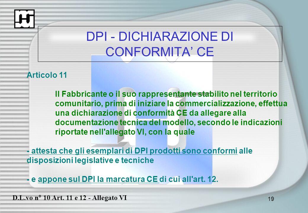 DPI - DICHIARAZIONE DI CONFORMITA' CE