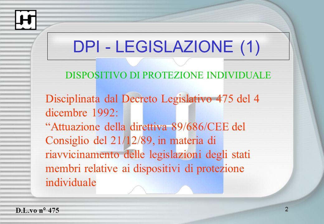 DPI - LEGISLAZIONE (1)DISPOSITIVO DI PROTEZIONE INDIVIDUALE. Disciplinata dal Decreto Legislativo 475 del 4 dicembre 1992:
