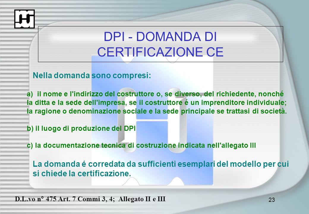 DPI - DOMANDA DI CERTIFICAZIONE CE