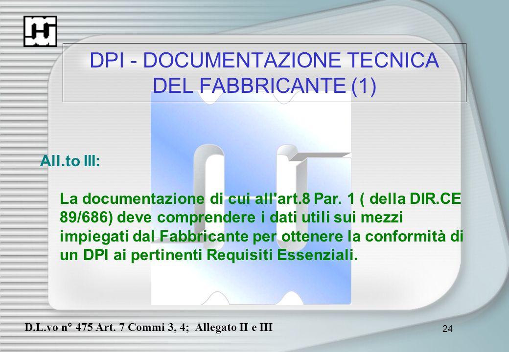 DPI - DOCUMENTAZIONE TECNICA DEL FABBRICANTE (1)