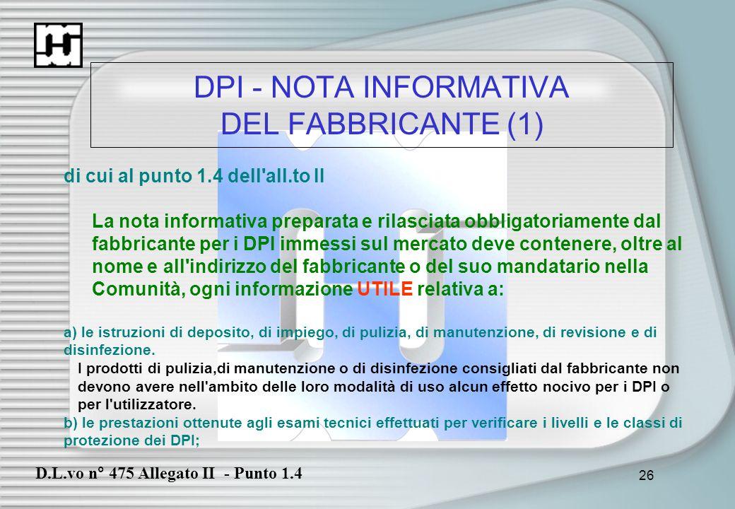 DPI - NOTA INFORMATIVA DEL FABBRICANTE (1)