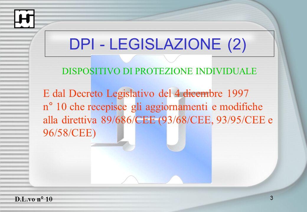 DPI - LEGISLAZIONE (2) E dal Decreto Legislativo del 4 dicembre 1997