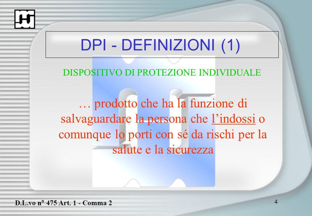 DPI - DEFINIZIONI (1)DISPOSITIVO DI PROTEZIONE INDIVIDUALE.
