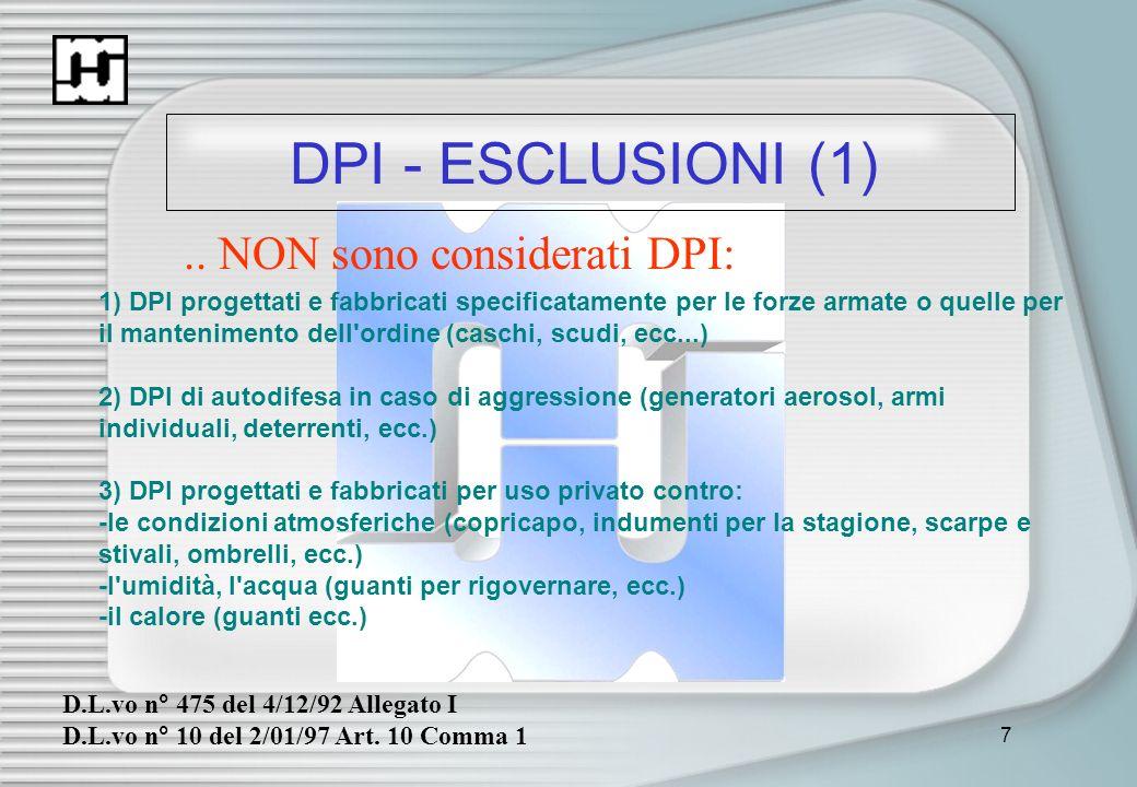 .. NON sono considerati DPI: