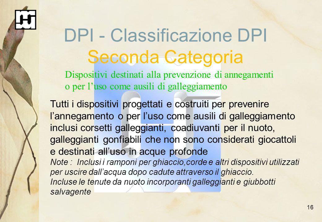 DPI - Classificazione DPI Seconda Categoria
