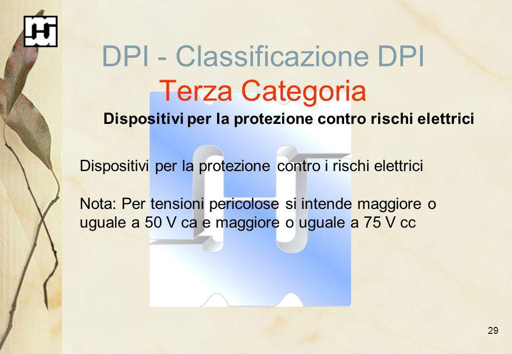 DPI - Classificazione DPI Terza Categoria