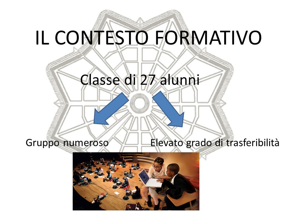 IL CONTESTO FORMATIVO Classe di 27 alunni Gruppo numeroso