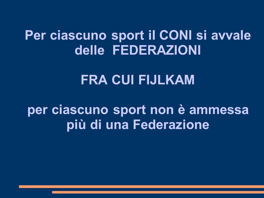 Per ciascuno sport il CONI si avvale delle FEDERAZIONI FRA CUI FIJLKAM per ciascuno sport non è ammessa più di una Federazione