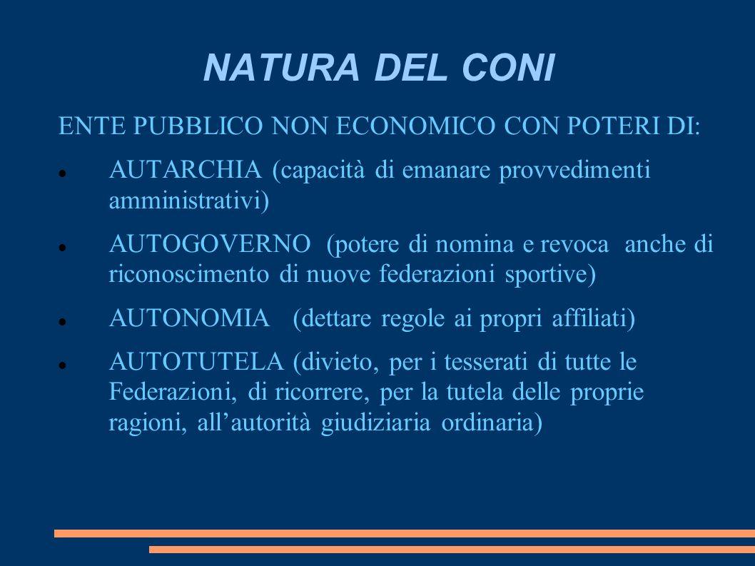 NATURA DEL CONI ENTE PUBBLICO NON ECONOMICO CON POTERI DI: