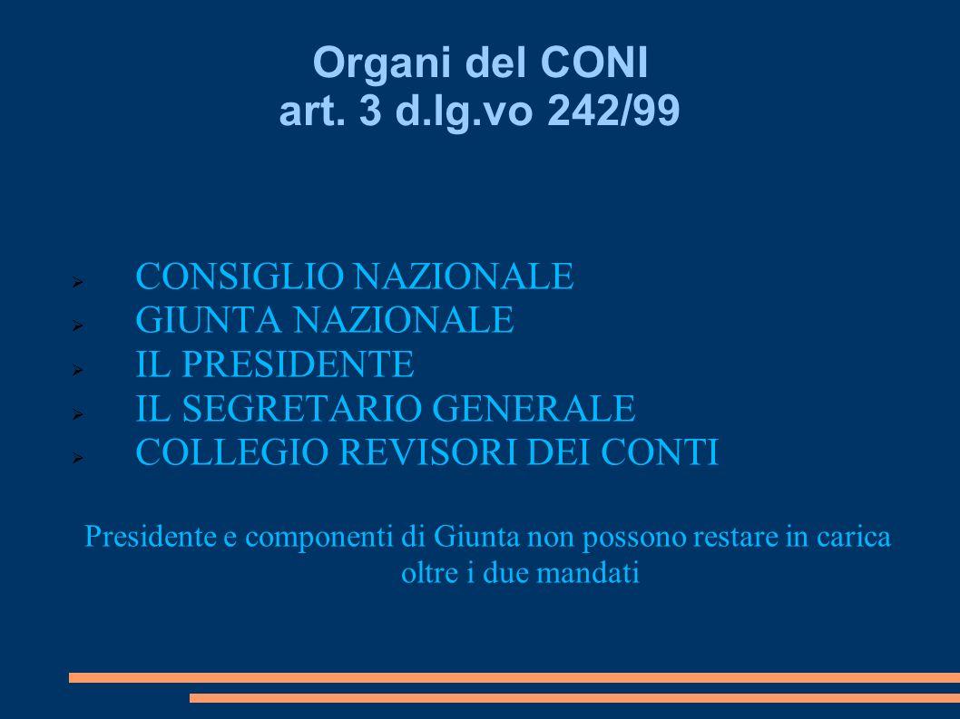 Organi del CONI art. 3 d.lg.vo 242/99