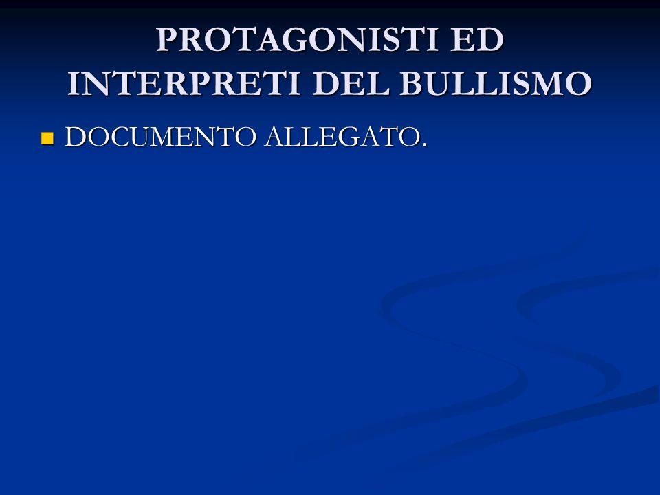 PROTAGONISTI ED INTERPRETI DEL BULLISMO